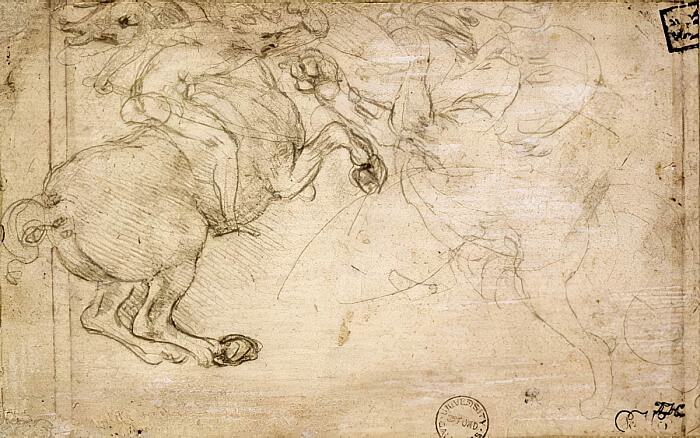 A Horseman in Combat with a Griffin - by Leonardo da Vinci