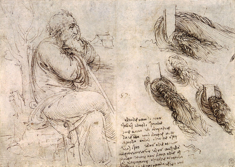 A seated man and studies and notes on the movement of water - by Leonardo da Vinci