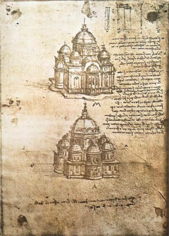 Studies of central plan buildings - by Leonardo da Vinci