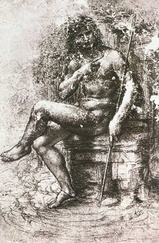 Study for st john in the wilderness - by Leonardo da Vinci