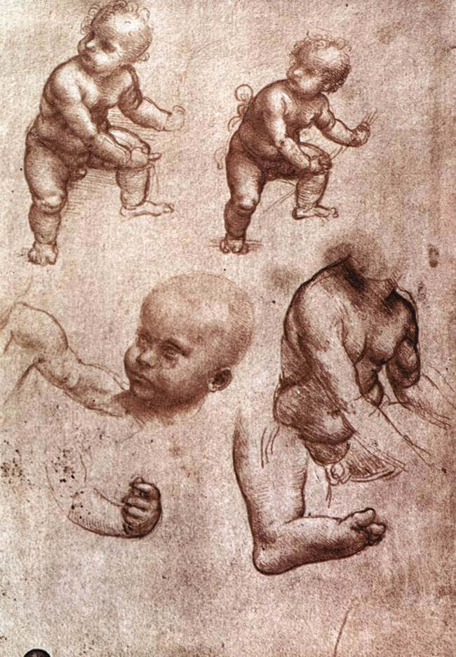 Study of a child - by Leonardo da Vinci