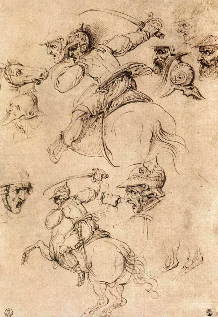 Study of battles on horseback - by Leonardo da Vinci