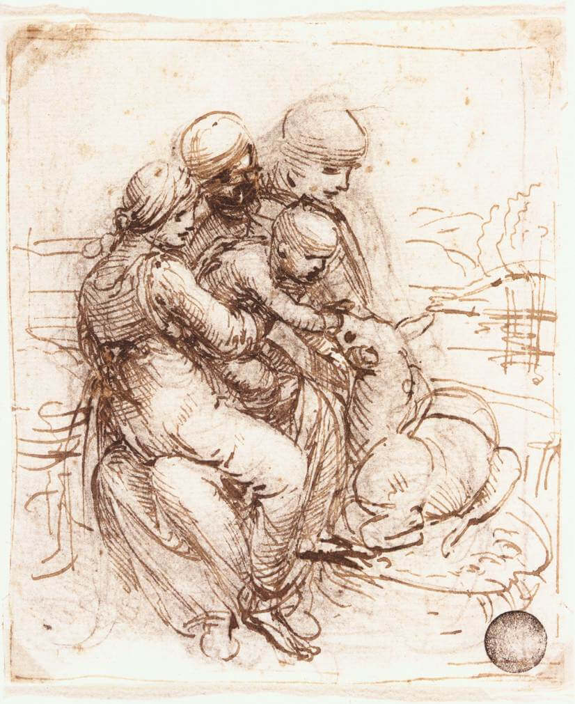 Study of st anne mary the christ child and the young st john - by Leonardo da Vinci
