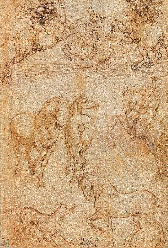Two Horsemen Fighting a Dragon - by Leonardo da Vinci
