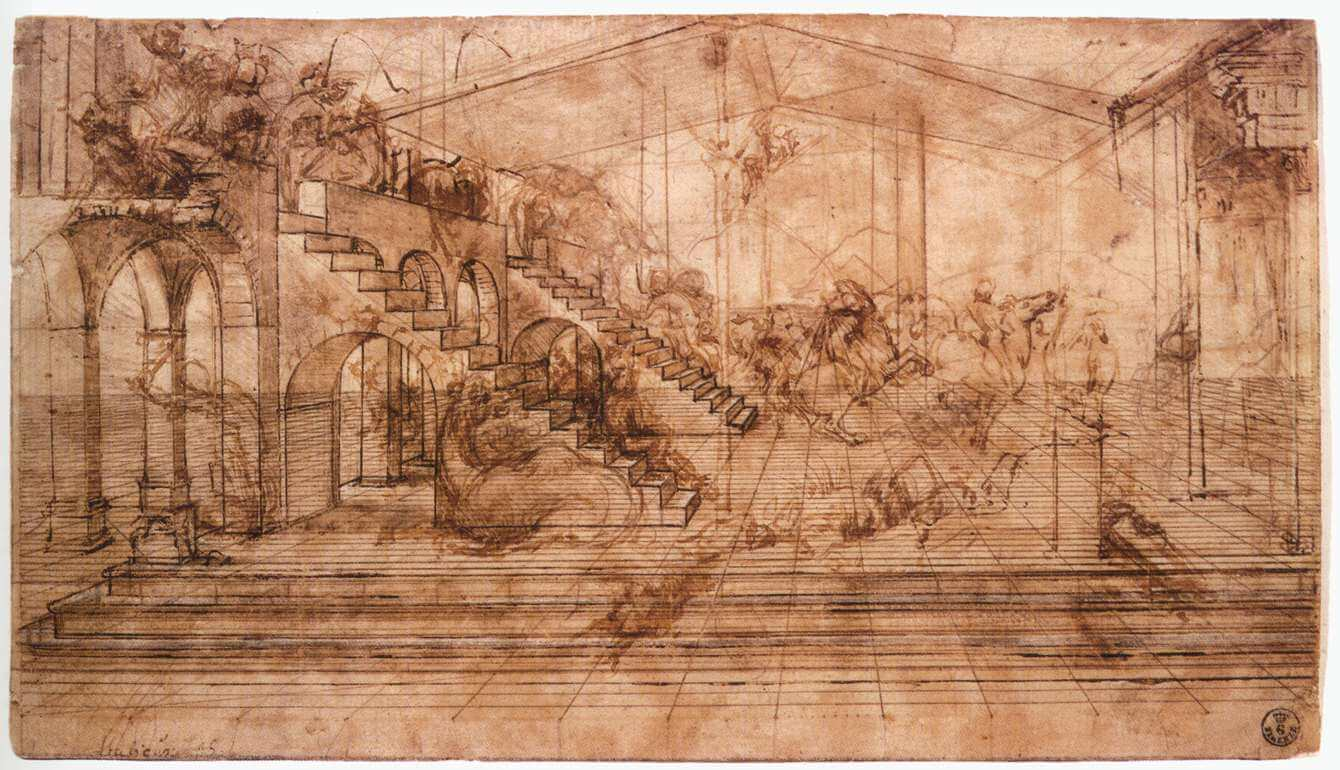 Perspectival study of the Adoration of the Magi - by Leonardo Da Vinci